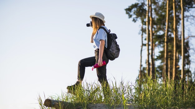 woman on a hiking trip